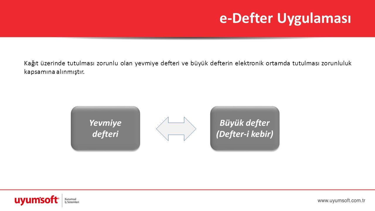e-Defter Uygulaması Yevmiye defteri Büyük defter (Defter-i kebir)