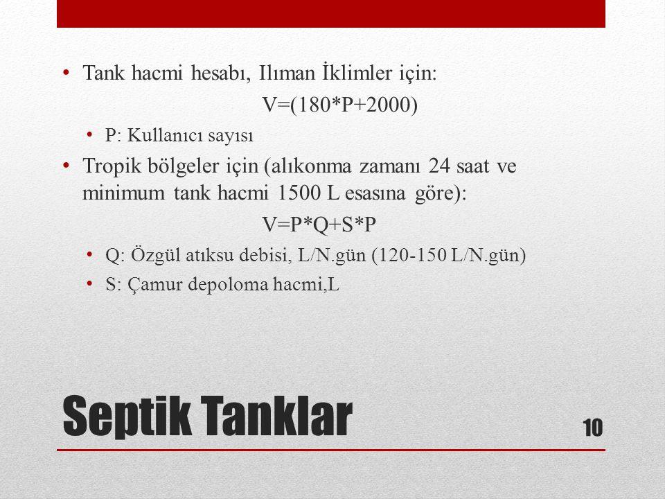 Septik Tanklar Tank hacmi hesabı, Ilıman İklimler için: V=(180*P+2000)