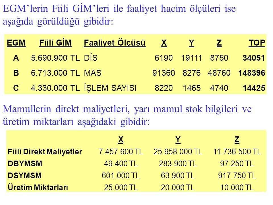 EGM'lerin Fiili GİM'leri ile faaliyet hacim ölçüleri ise aşağıda görüldüğü gibidir: