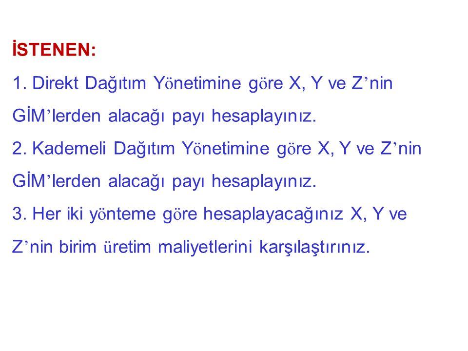 İSTENEN: Direkt Dağıtım Yönetimine göre X, Y ve Z'nin GİM'lerden alacağı payı hesaplayınız.