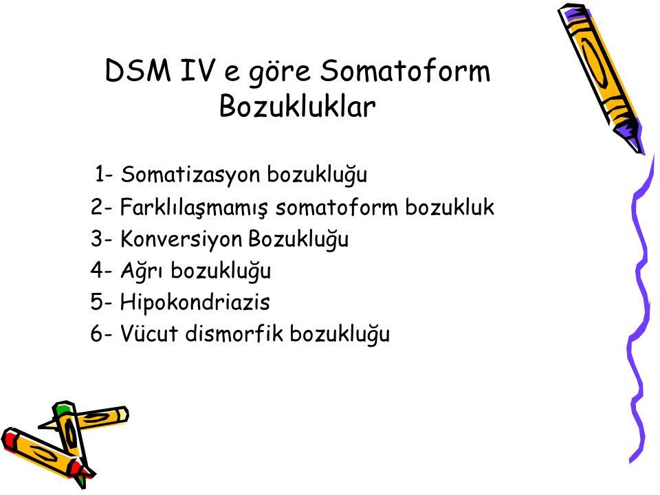 DSM IV e göre Somatoform Bozukluklar