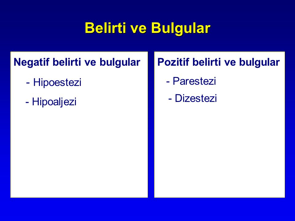 Belirti ve Bulgular - Hipoestezi Negatif belirti ve bulgular