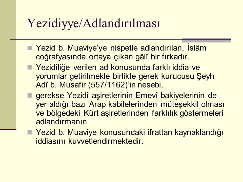 Yezidiyye/Adlandırılması