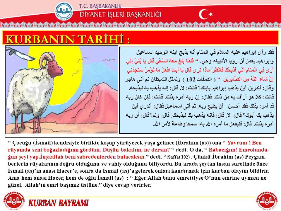 KURBANIN TARİHİ : فقد رأى إبراهيم عليه السلام في المنام أنه يذبح ابنه الوحيد اسماعيل.