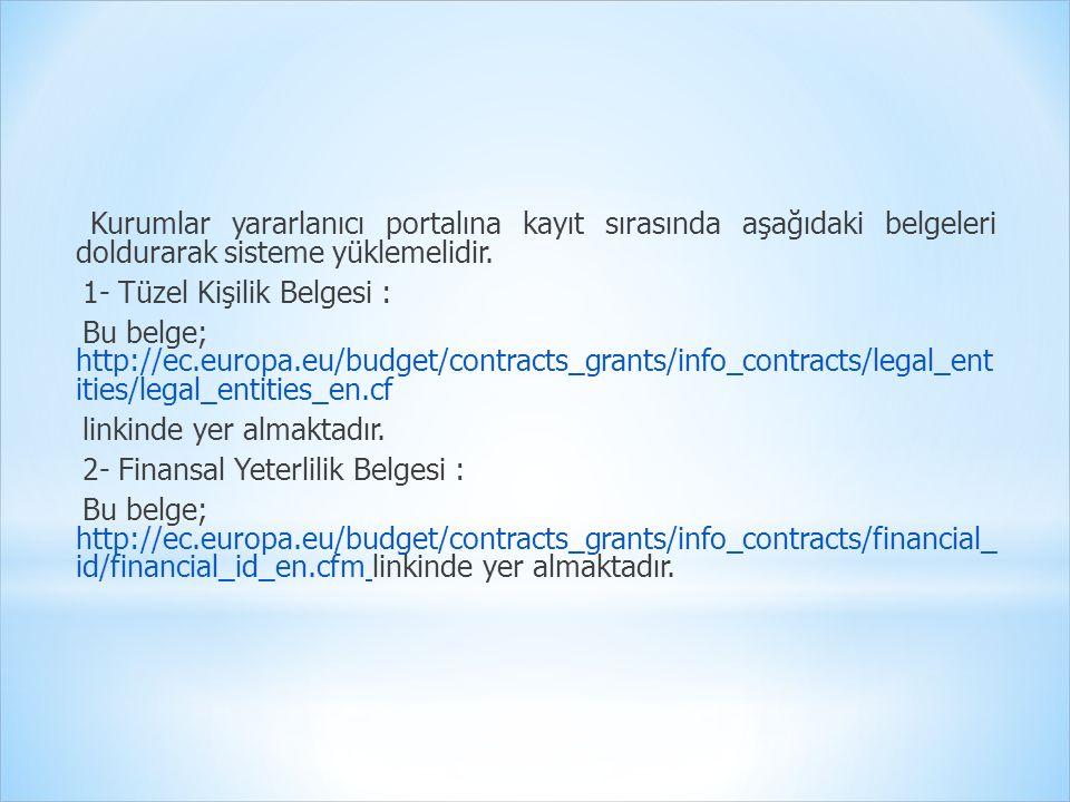 Kurumlar yararlanıcı portalına kayıt sırasında aşağıdaki belgeleri doldurarak sisteme yüklemelidir.