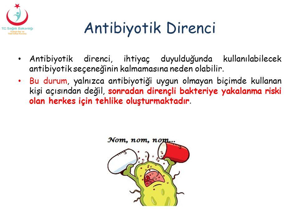 Antibiyotik Direnci Antibiyotik direnci, ihtiyaç duyulduğunda kullanılabilecek antibiyotik seçeneğinin kalmamasına neden olabilir.
