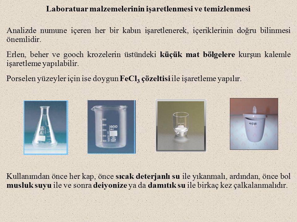 Laboratuar malzemelerinin işaretlenmesi ve temizlenmesi