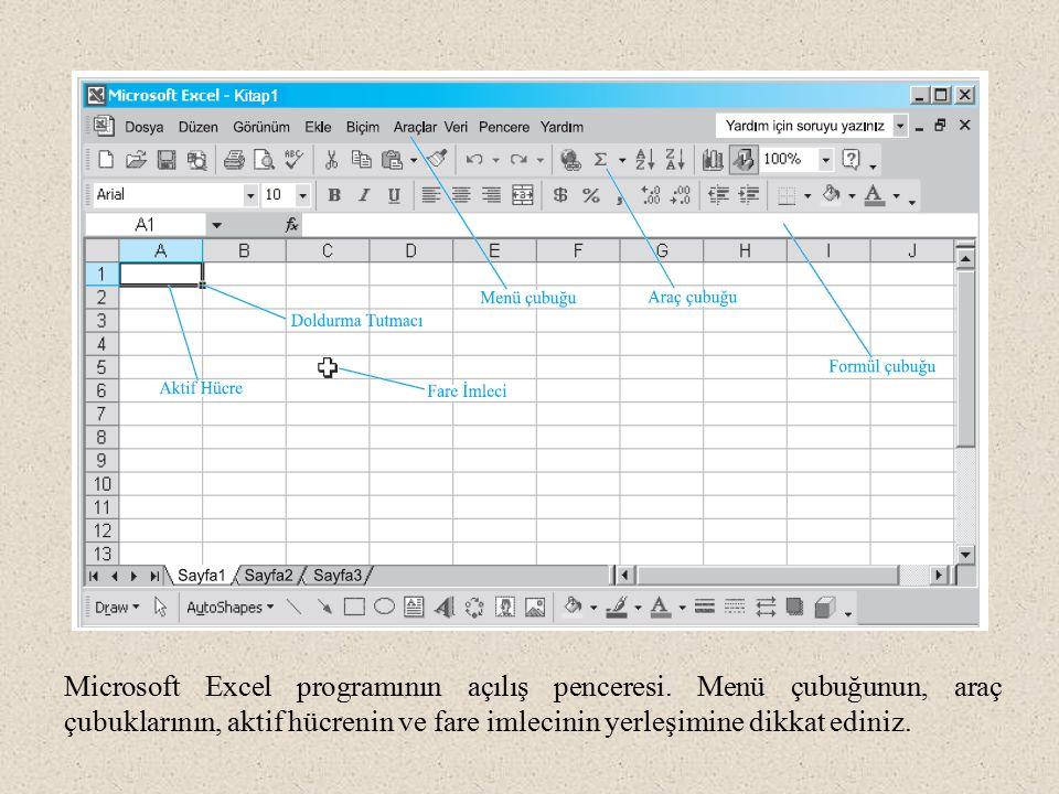 Microsoft Excel programının açılış penceresi