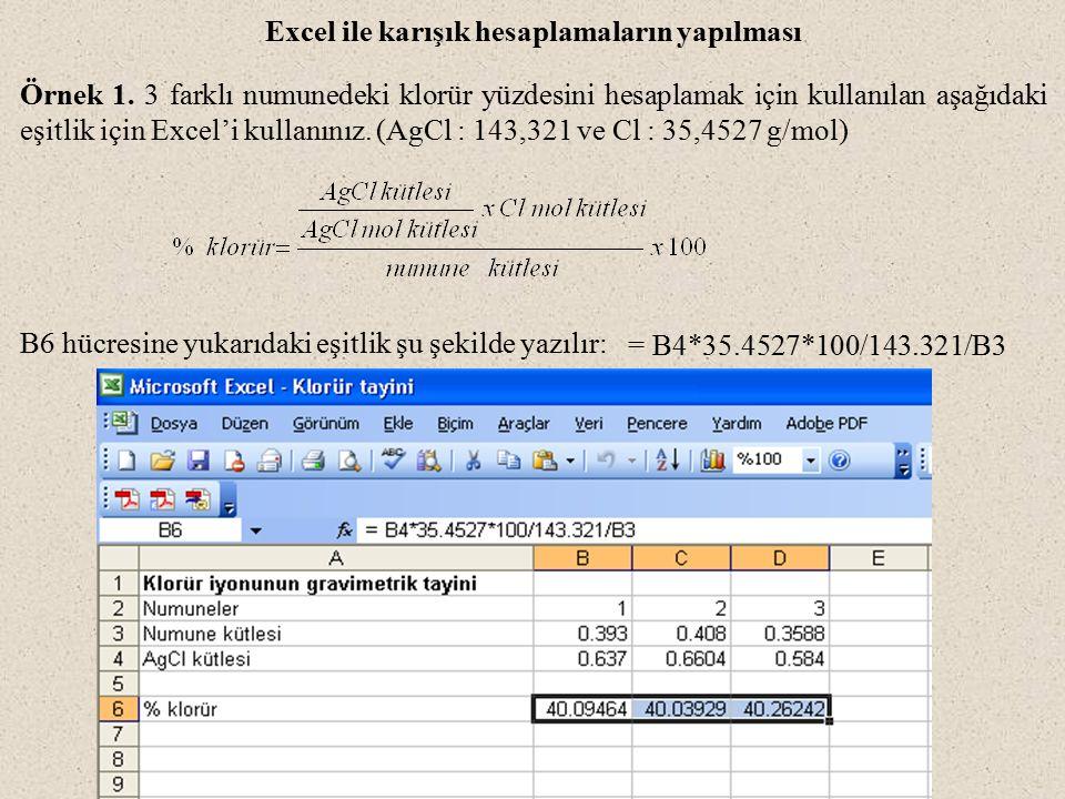 Excel ile karışık hesaplamaların yapılması