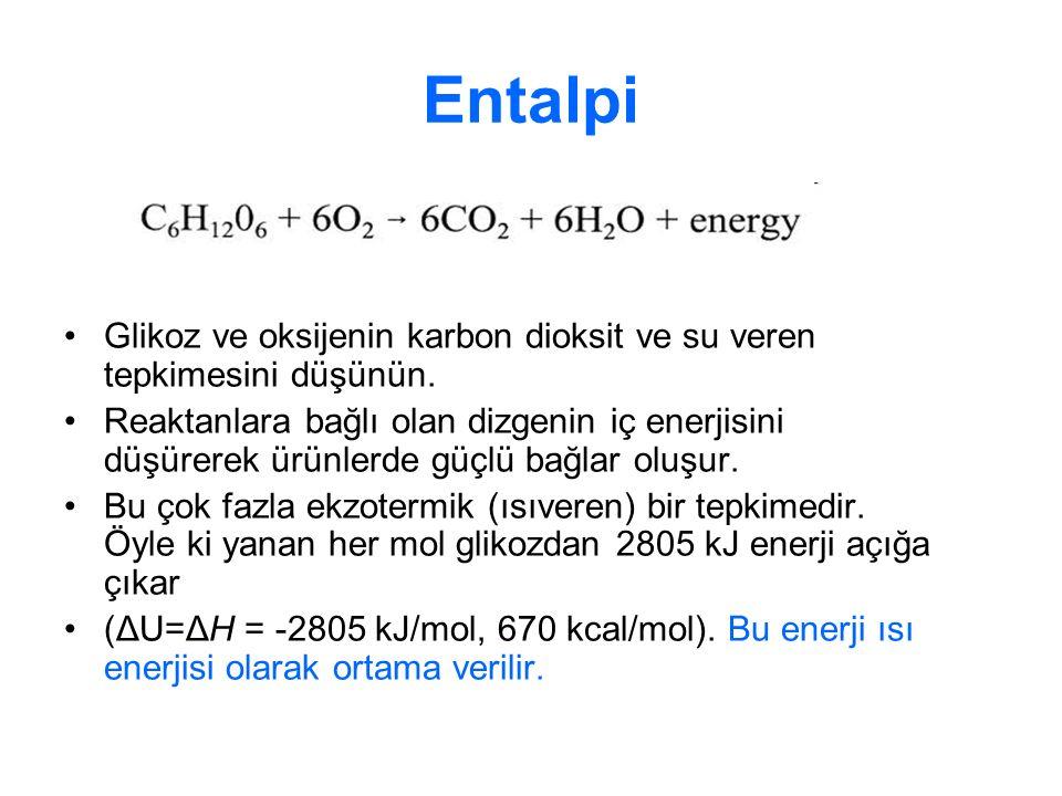 Entalpi Glikoz ve oksijenin karbon dioksit ve su veren tepkimesini düşünün.