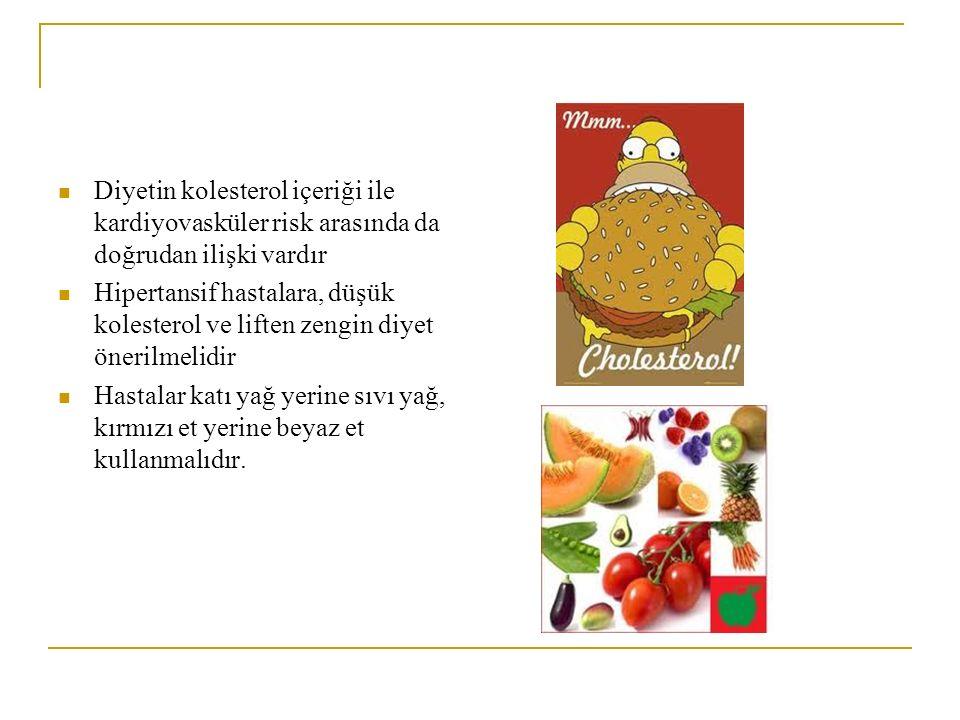 Diyetin kolesterol içeriği ile kardiyovasküler risk arasında da doğrudan ilişki vardır