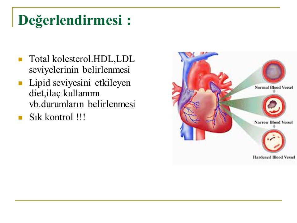 Değerlendirmesi : Total kolesterol.HDL,LDL seviyelerinin belirlenmesi