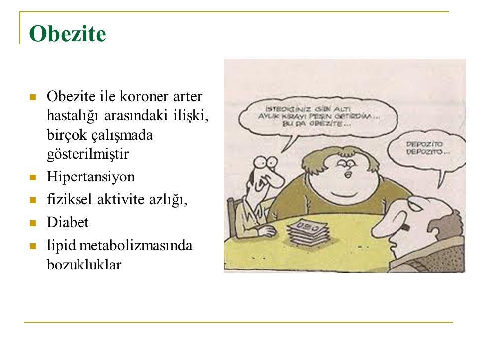 Obezite Obezite ile koroner arter hastalığı arasındaki ilişki, birçok çalışmada gösterilmiştir. Hipertansiyon.