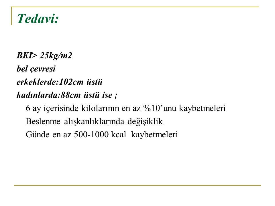 Tedavi: BKI> 25kg/m2 bel çevresi erkeklerde:102cm üstü