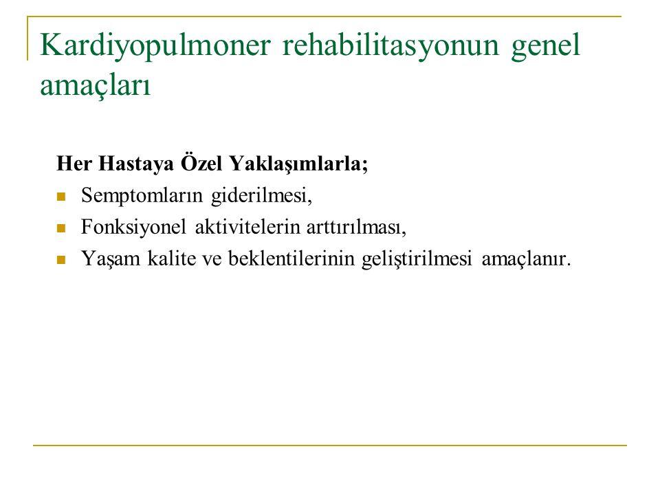 Kardiyopulmoner rehabilitasyonun genel amaçları