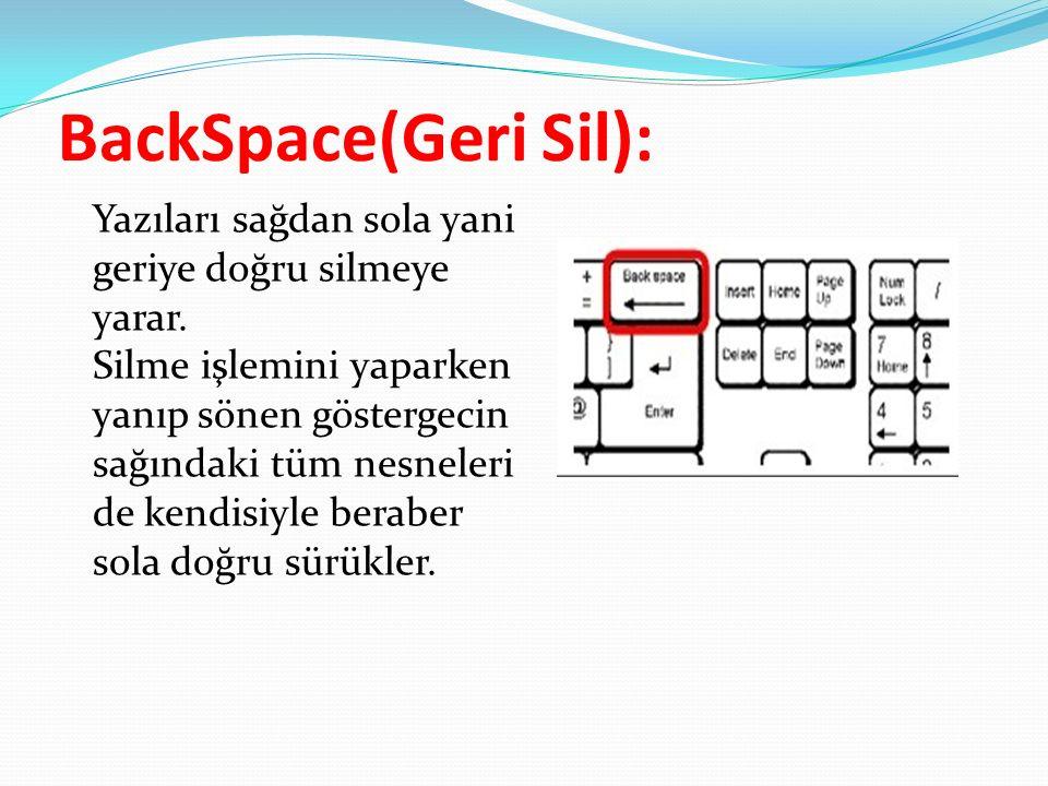BackSpace(Geri Sil):