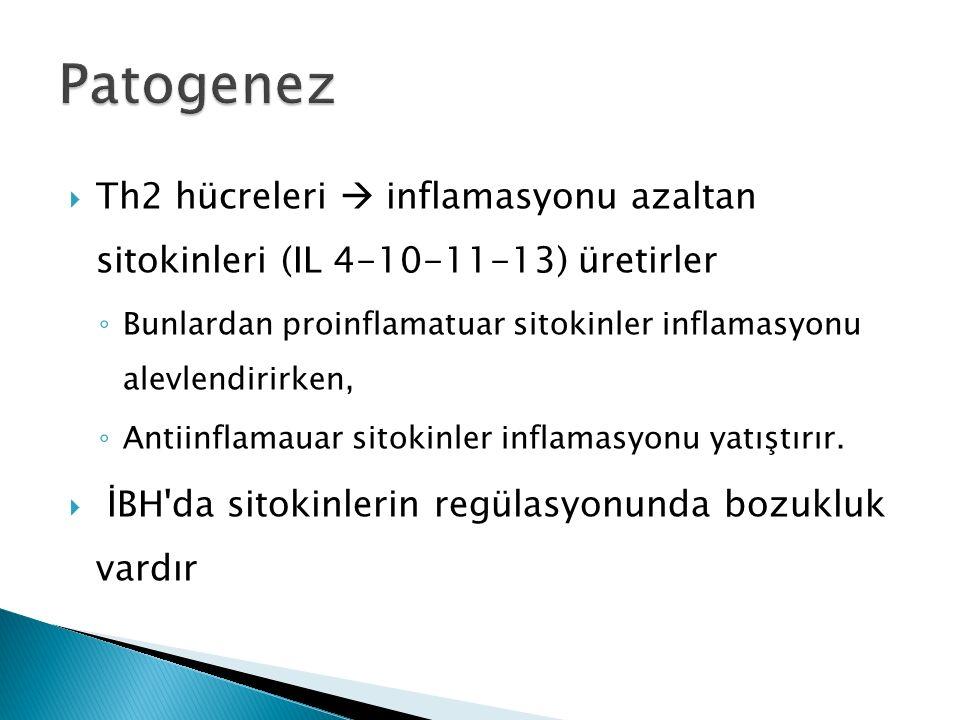 Patogenez Th2 hücreleri  inflamasyonu azaltan sitokinleri (IL 4-10-11-13) üretirler.