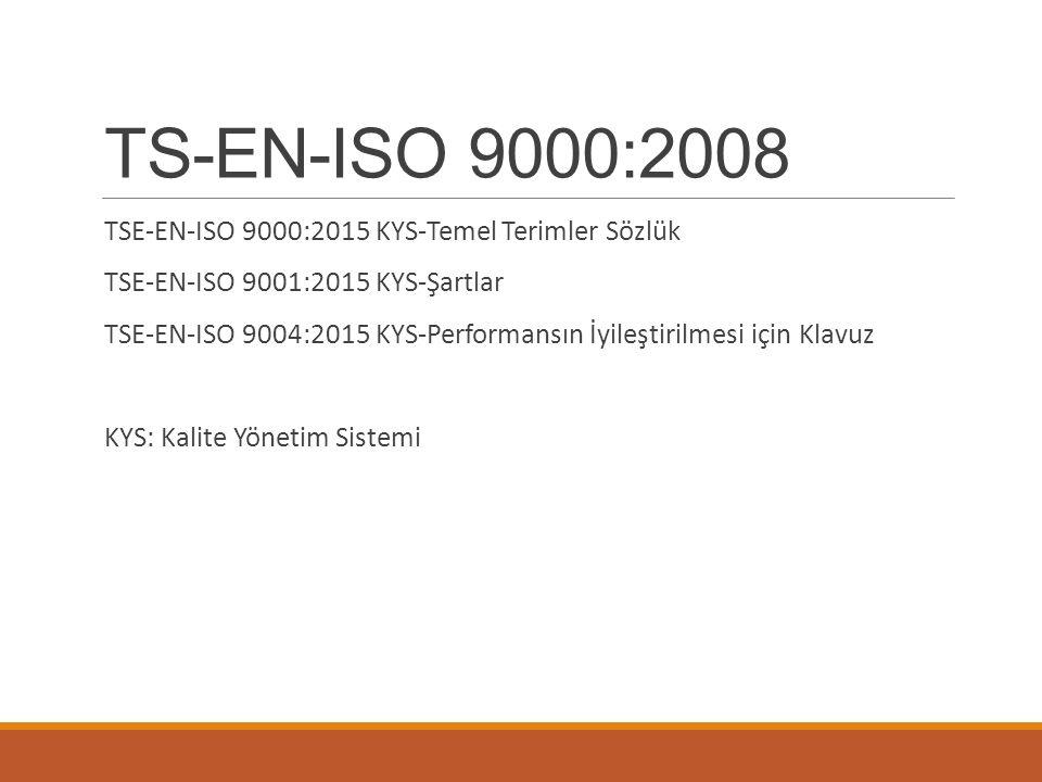 TS-EN-ISO 9000:2008 TSE-EN-ISO 9000:2015 KYS-Temel Terimler Sözlük