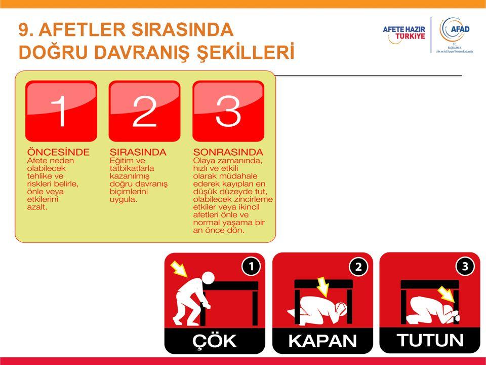9. AFETLER SIRASINDA DOĞRU DAVRANIŞ ŞEKİLLERİ