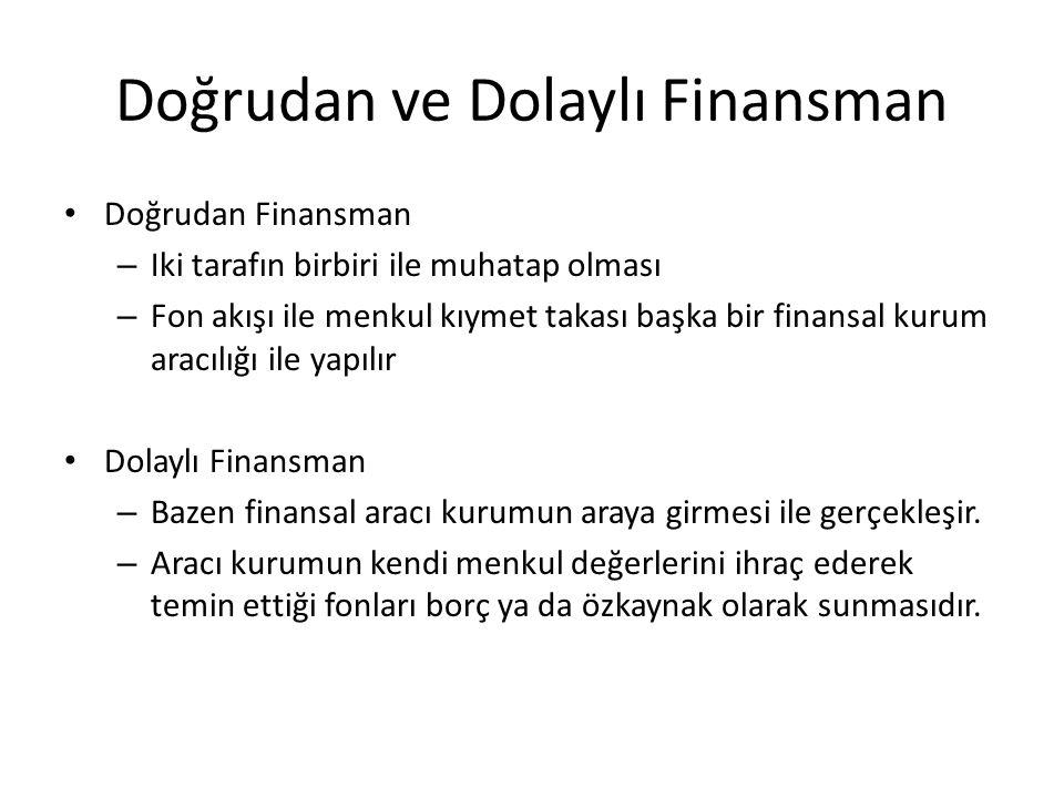 Doğrudan ve Dolaylı Finansman