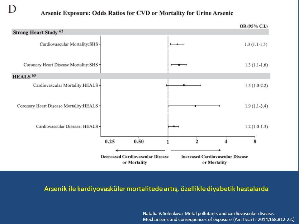 Arsenik ile kardiyovasküler mortalitede artış, özellikle diyabetik hastalarda