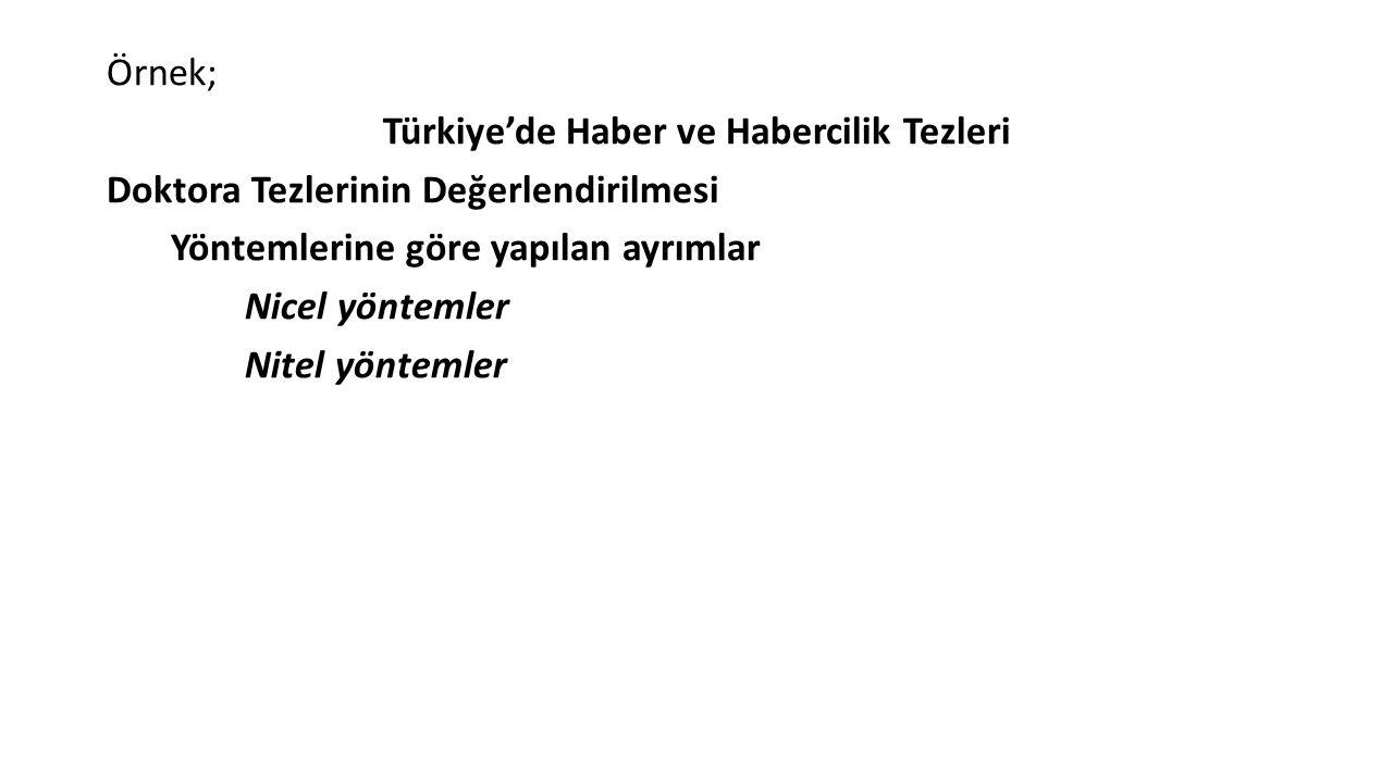 Örnek; Türkiye'de Haber ve Habercilik Tezleri Doktora Tezlerinin Değerlendirilmesi Yöntemlerine göre yapılan ayrımlar Nicel yöntemler Nitel yöntemler