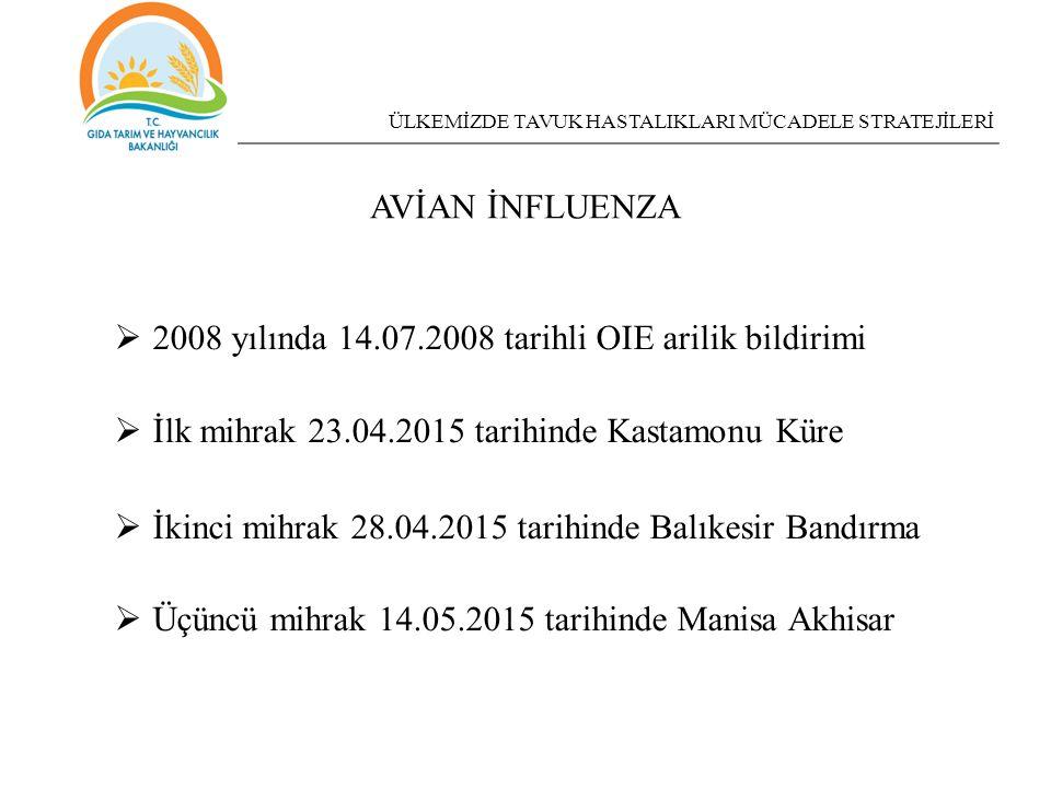 2008 yılında 14.07.2008 tarihli OIE arilik bildirimi