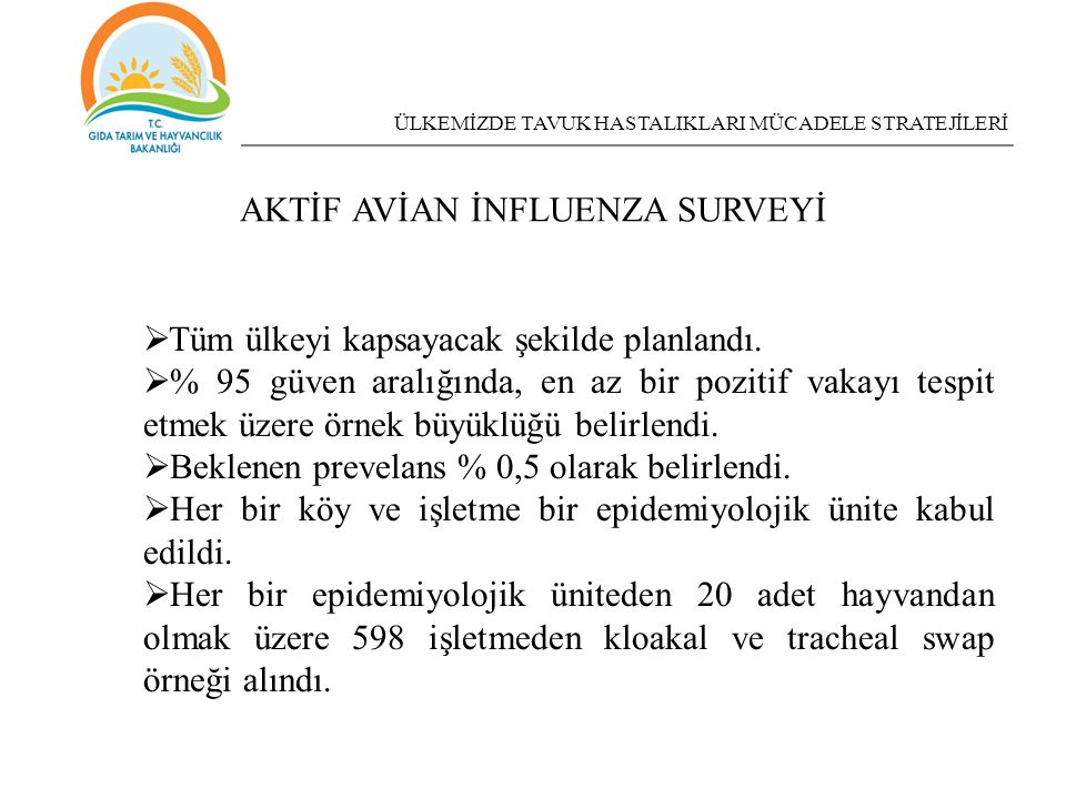 AKTİF AVİAN İNFLUENZA SURVEYİ