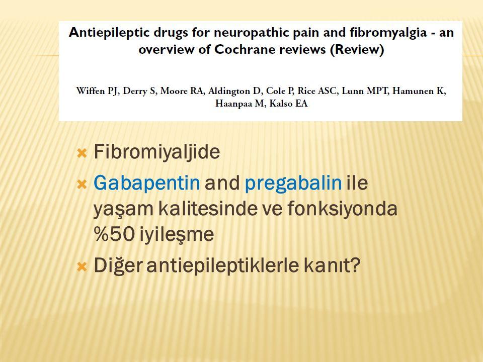 Fibromiyaljide Gabapentin and pregabalin ile yaşam kalitesinde ve fonksiyonda %50 iyileşme.
