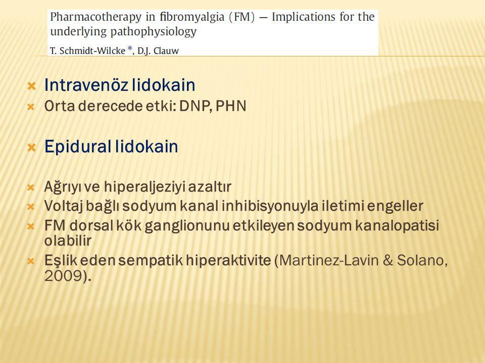 Intravenöz lidokain Epidural lidokain Orta derecede etki: DNP, PHN