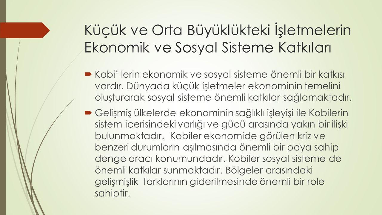 Küçük ve Orta Büyüklükteki İşletmelerin Ekonomik ve Sosyal Sisteme Katkıları