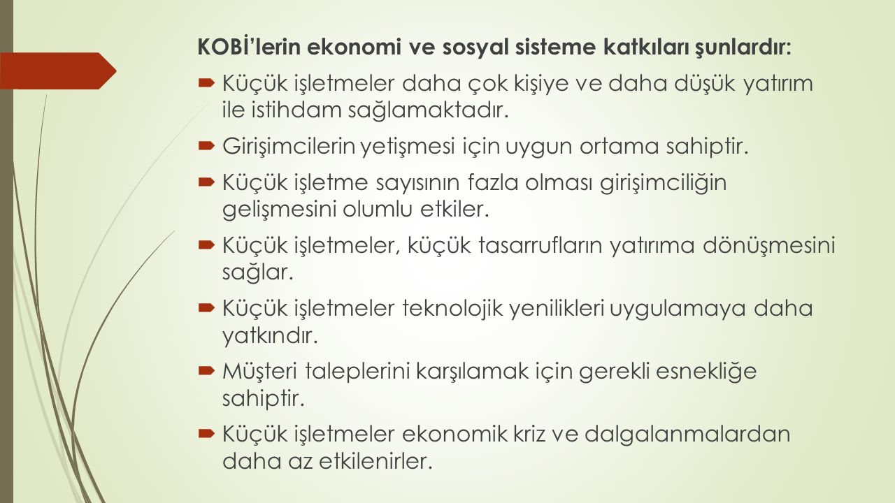 KOBİ'lerin ekonomi ve sosyal sisteme katkıları şunlardır: