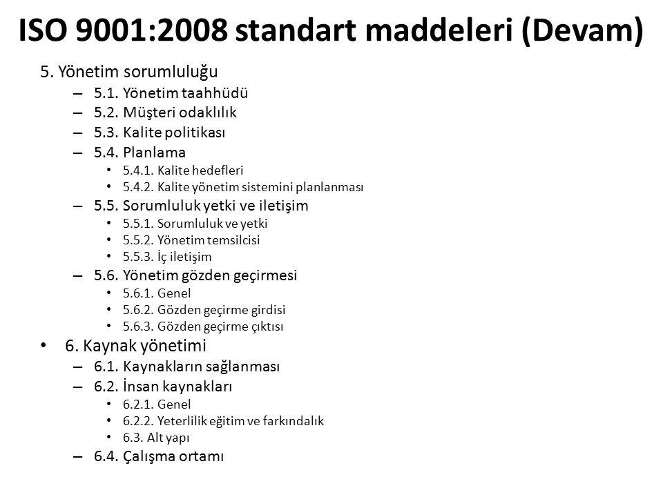ISO 9001:2008 standart maddeleri (Devam)