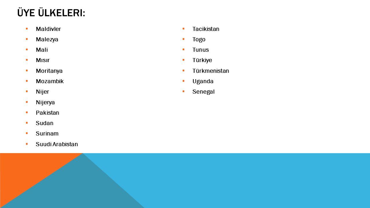 Üye Ülkeleri: Maldivler Tacikistan Malezya Togo Mali Tunus Mısır
