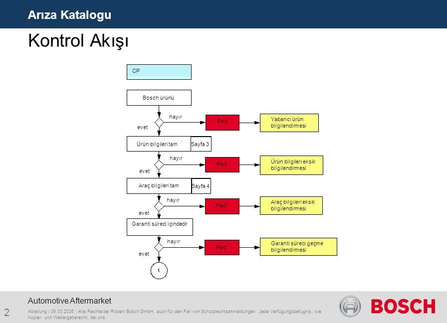 Kontrol Akışı Arıza Katalogu Automotive Aftermarket Bosch ürünü CP