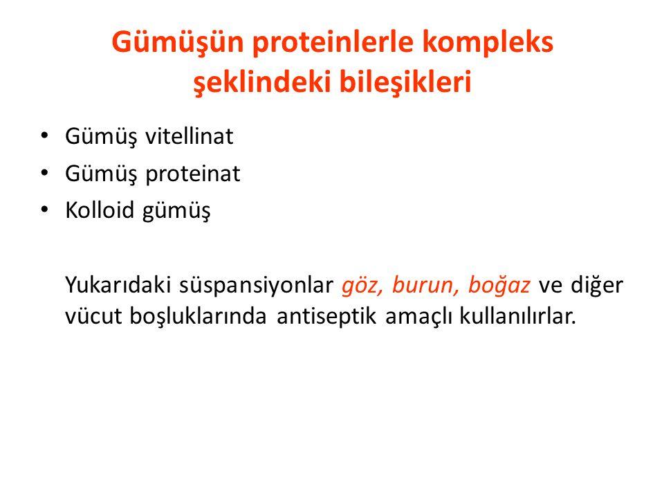 Gümüşün proteinlerle kompleks şeklindeki bileşikleri
