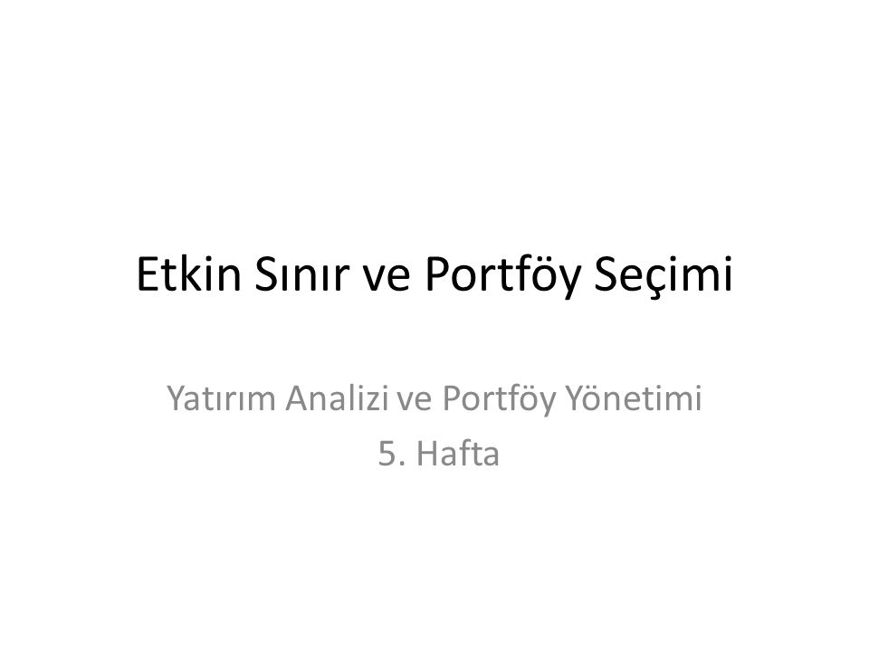 Etkin Sınır ve Portföy Seçimi