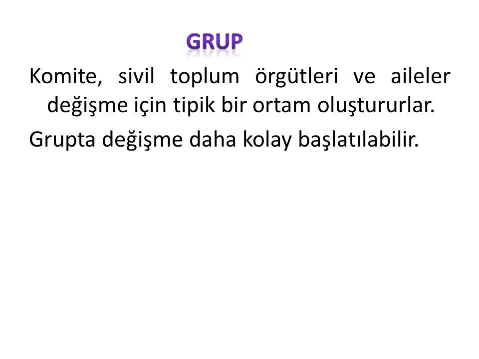 Grup; GRUP. Komite, sivil toplum örgütleri ve aileler değişme için tipik bir ortam oluştururlar.
