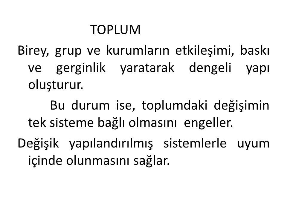 Toplum; TOPLUM. Birey, grup ve kurumların etkileşimi, baskı ve gerginlik yaratarak dengeli yapı oluşturur.