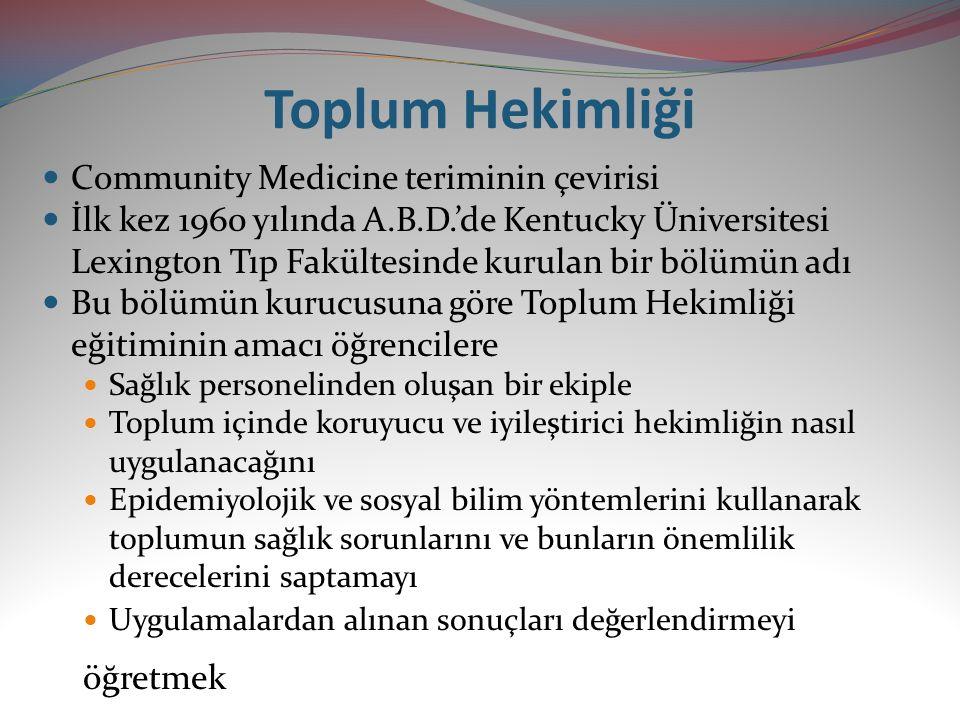 Toplum Hekimliği Community Medicine teriminin çevirisi