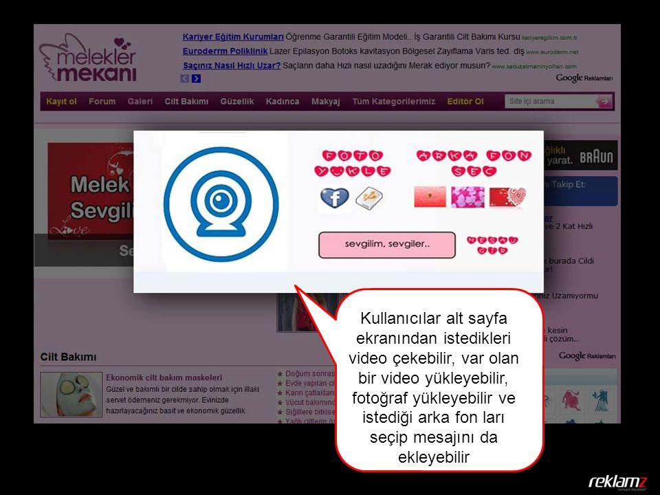 Kullanıcılar alt sayfa ekranından istedikleri video çekebilir, var olan bir video yükleyebilir, fotoğraf yükleyebilir ve istediği arka fon ları seçip mesajını da ekleyebilir