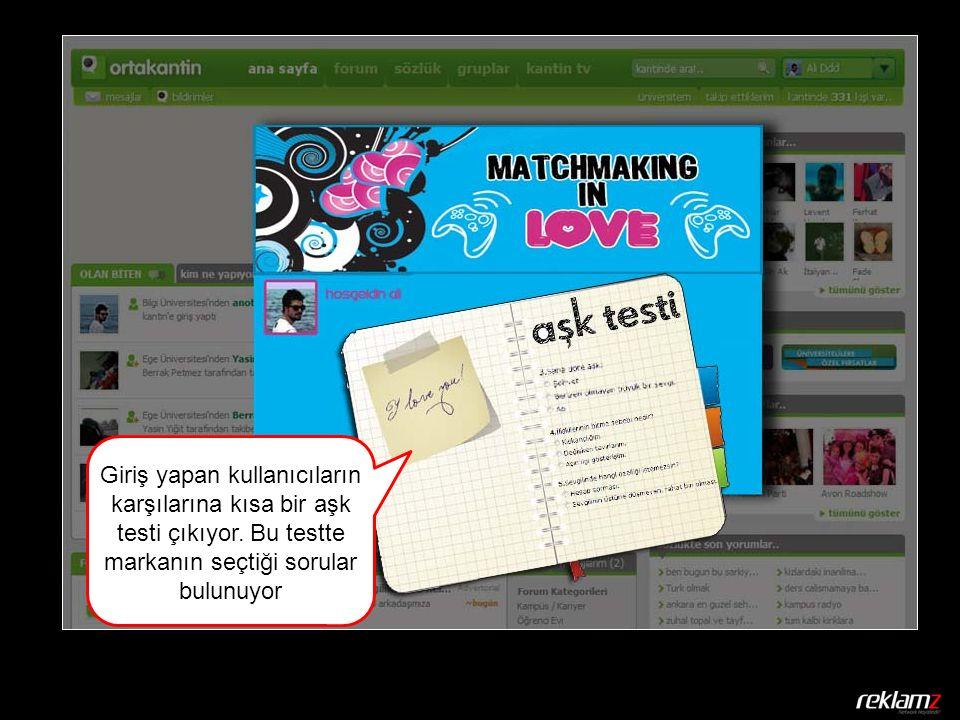 Giriş yapan kullanıcıların karşılarına kısa bir aşk testi çıkıyor