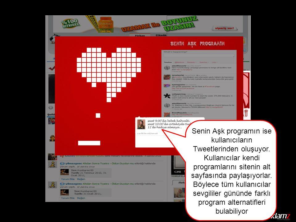 Senin Aşk programın ise kullanıcıların Tweetlerinden oluşuyor