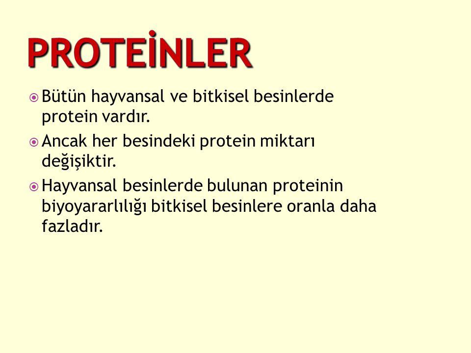 Bütün hayvansal ve bitkisel besinlerde protein vardır.