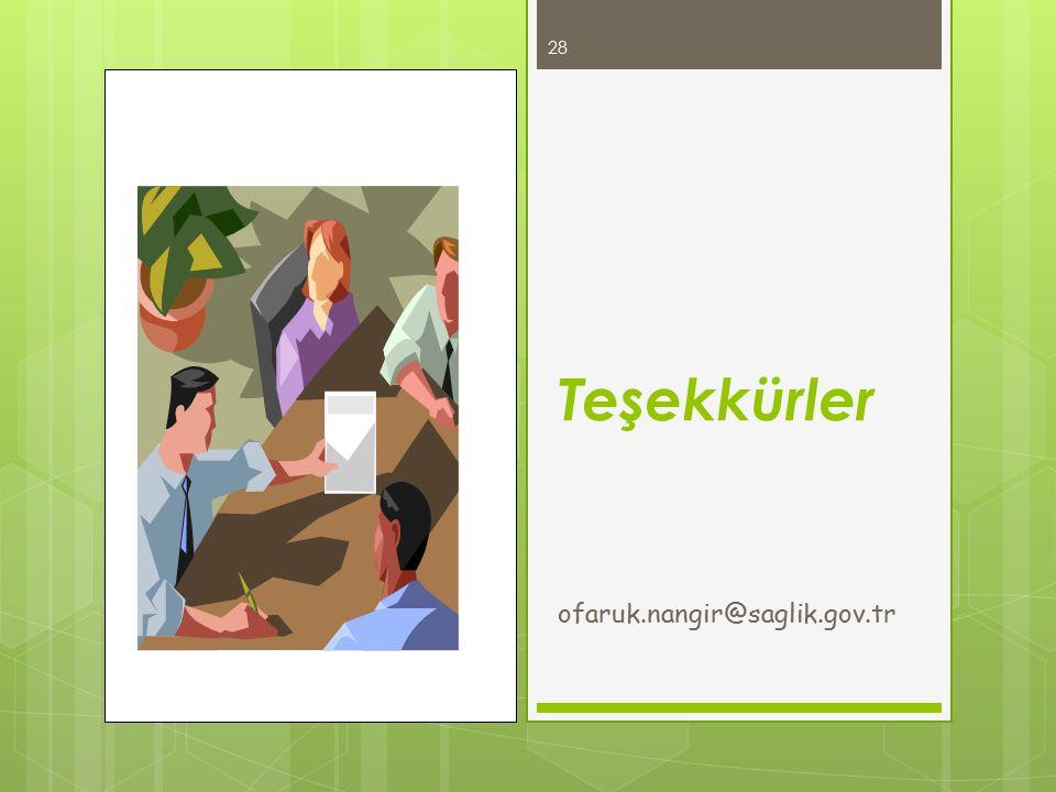 Teşekkürler ofaruk.nangir@saglik.gov.tr