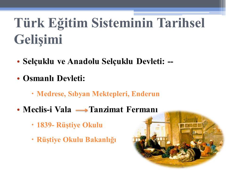 Türk Eğitim Sisteminin Tarihsel Gelişimi