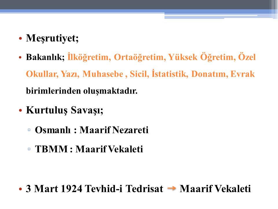 3 Mart 1924 Tevhid-i Tedrisat Maarif Vekaleti