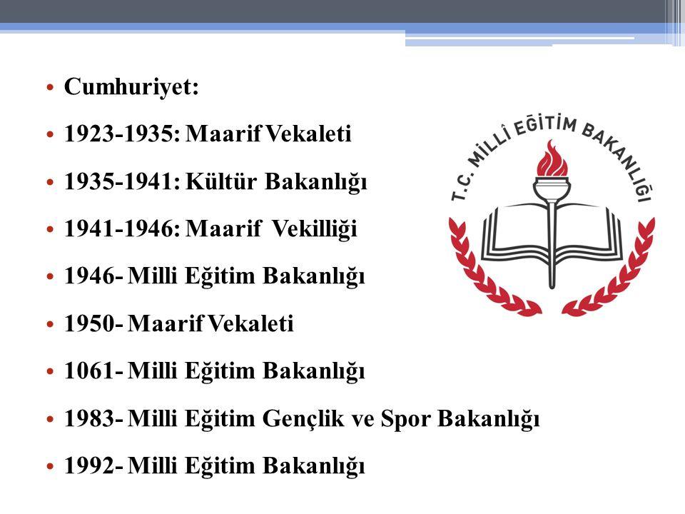 Cumhuriyet: 1923-1935: Maarif Vekaleti. 1935-1941: Kültür Bakanlığı. 1941-1946: Maarif Vekilliği.