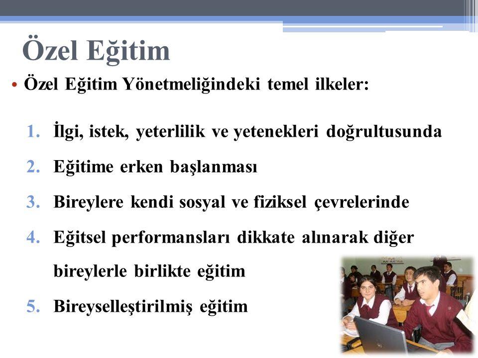 Özel Eğitim Özel Eğitim Yönetmeliğindeki temel ilkeler: