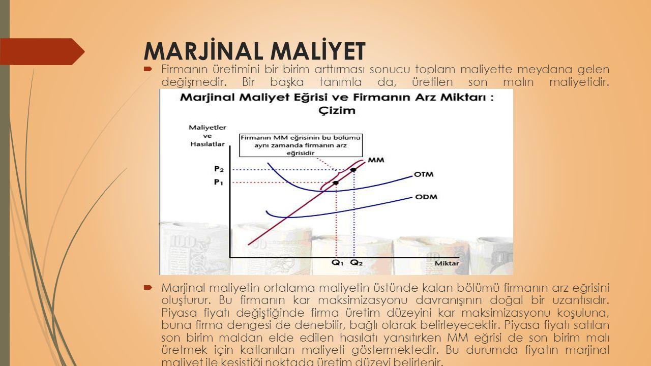 MARJİNAL MALİYET